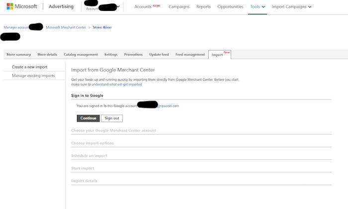 importar la campaña de Google Shopping a la campaña de Microsoft Bing Shopping