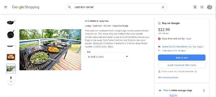 Acciones de Google Shopping Cooking 2
