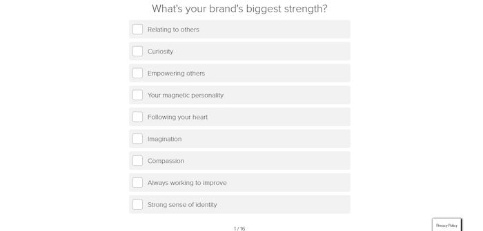 cuestionario de personalidad de marca