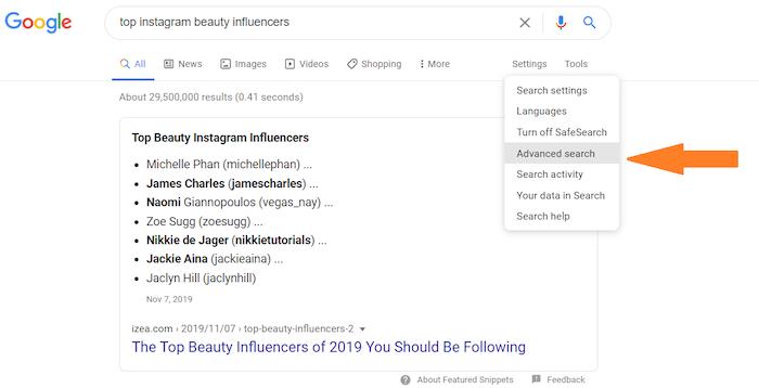 búsqueda avanzada de influencers de instagram