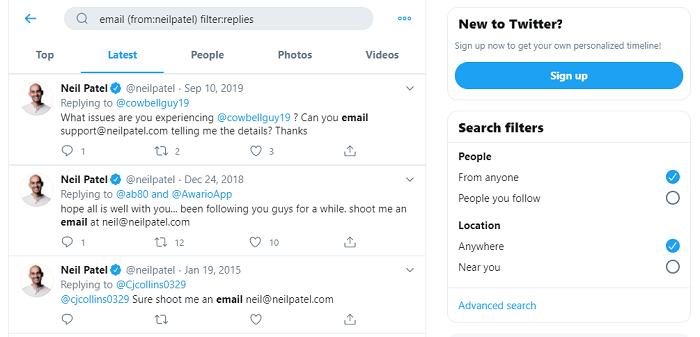 buscar correo electrónico twitter búsqueda avanzada