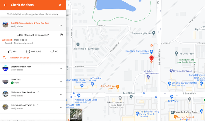 ejemplo de revisión de error de listado local de guías de google
