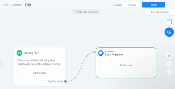 ejemplo de flujo de chatbot de comercio electrónico