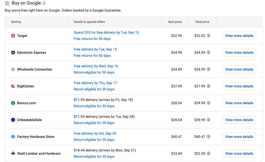 comparar compras de google