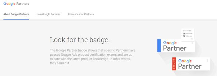 muestra de insignia de socio de Google