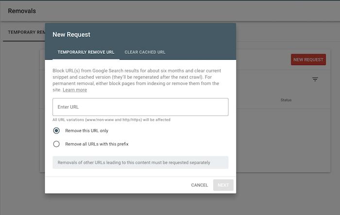 nueva solicitud para eliminar contenido obsoleto