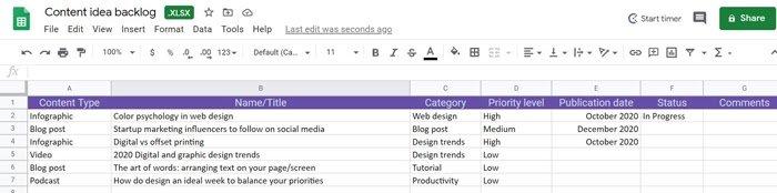muestra de calendario de marketing