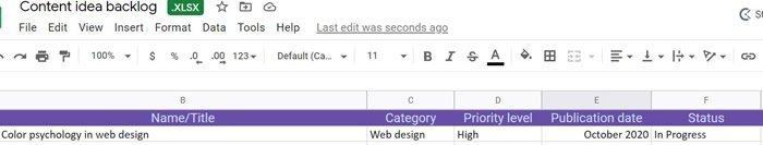 utilizar hojas de cálculo actuales para crear un calendario de marketing