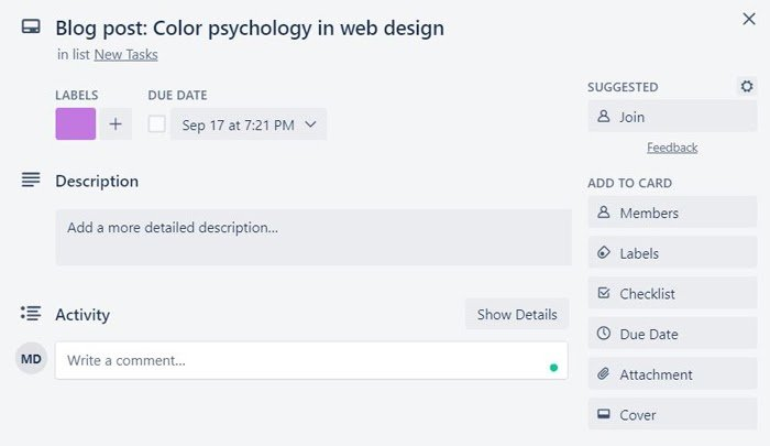 ejemplo de publicación de blog de tarjeta trello en la creación de un calendario de marketing