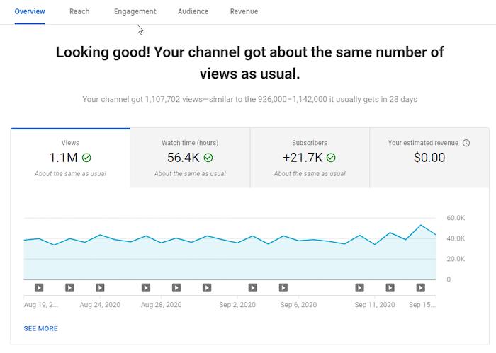 Estadísticas del canal de YouTube Analytics