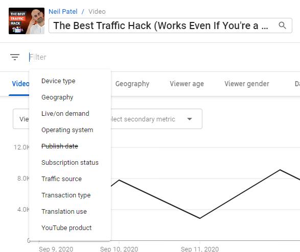 filtros para análisis de youtube