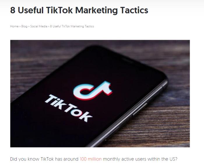Lista sobre el uso de TikTok en marketing