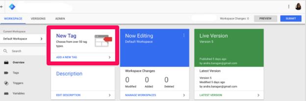 crear una nueva etiqueta en Google Analytics