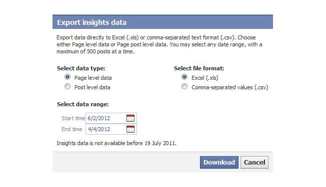 exportar datos de Facebook Insights