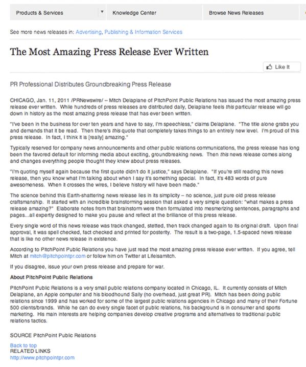 el comunicado de prensa más sorprendente jamás escrito