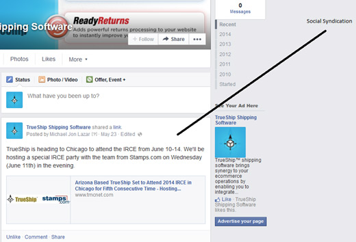 Sindicación social de Facebook para comunicados de prensa
