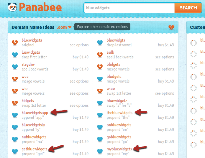 crear un sitio web use panabee para elegir un nombre
