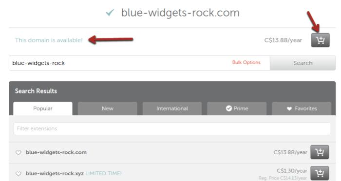 crear un sitio web eligiendo un nombre
