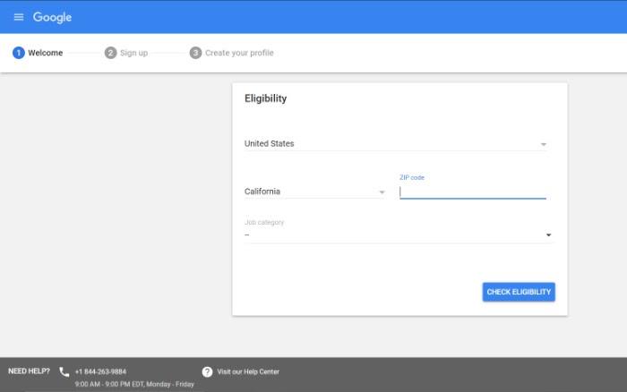 Elegibilidad del programa garantizada por Google