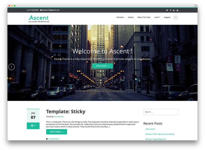 Captura de pantalla gratuita del tema ascension wordpress