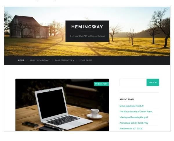 thème wordpress gratuit Hemingway