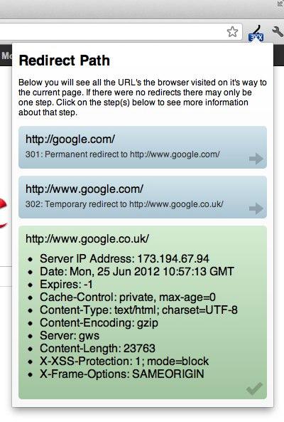 ruta de redirección de la extensión de Chrome