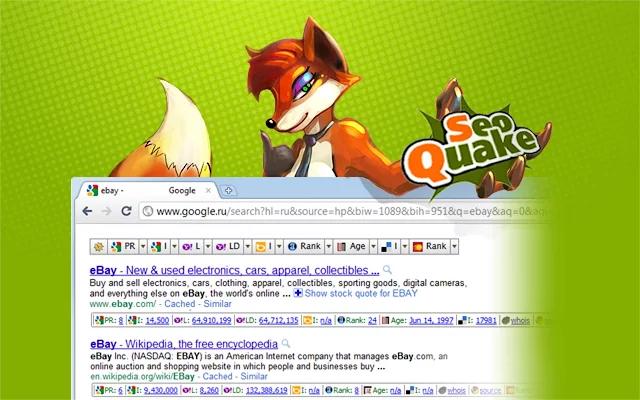 Captura de pantalla de SEOquake de extensiones de Chrome