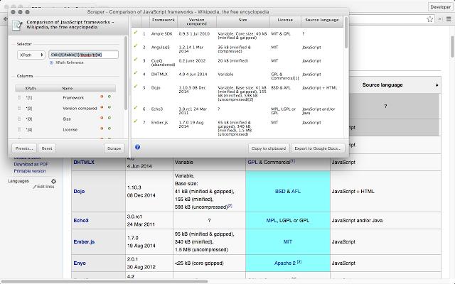 Captura de pantalla del raspador de extensiones de google chrome