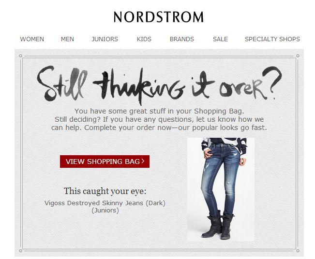 Ejemplo de marketing conductual de recuperación de carro de Nordstrom