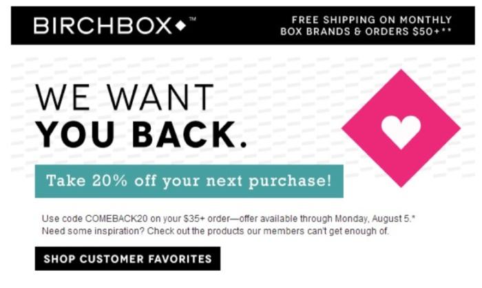 ejemplo de marketing por correo electrónico conductual desencadenado por birchbox