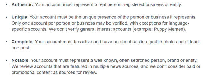 ser verificado en los requisitos de redes sociales de Facebook