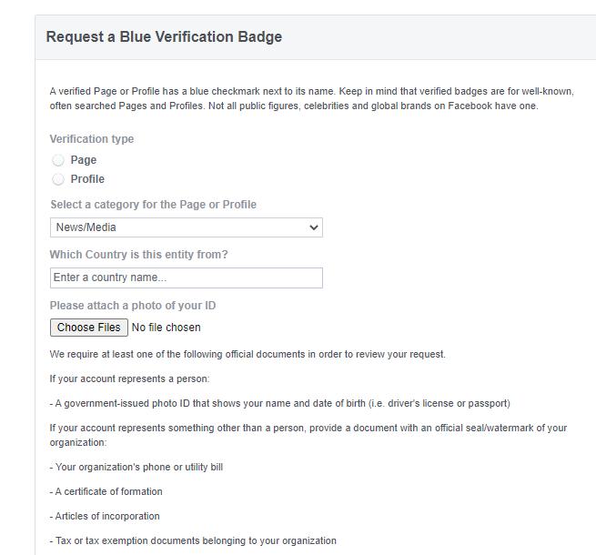 ser verificado en la captura de pantalla de requisitos de redes sociales de Facebook