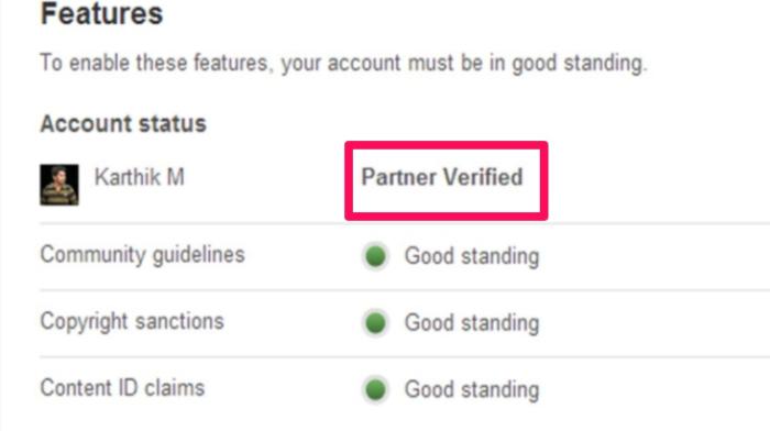ser verificado en el ejemplo de youtube en las redes sociales