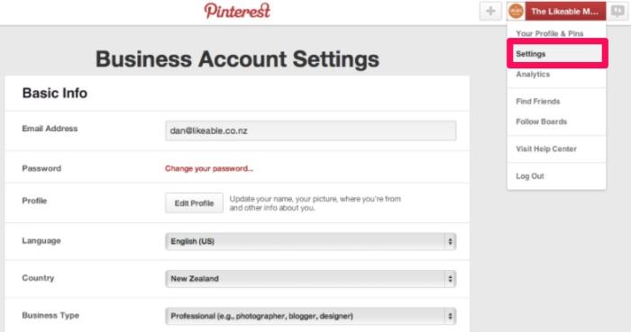 obtener la verificación en la captura de pantalla de Pinterest en las redes sociales