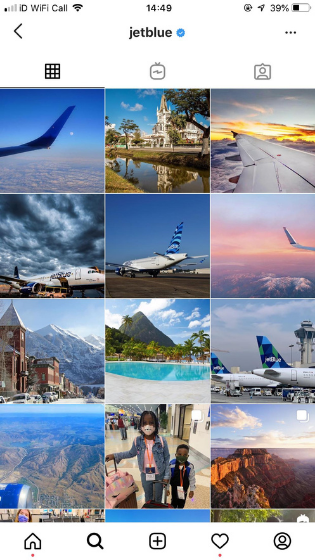 Captura de pantalla del uso de JetBlues de los filtros de Instagram