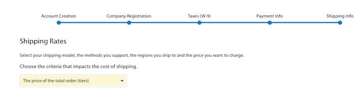 Formulario de información de entrega de Walmart Marketplace