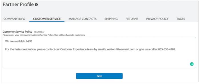 Formulario de perfil de socio de Walmart Marketplace