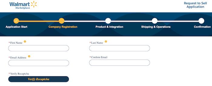 Formulario de registro de Walmart Marketplace