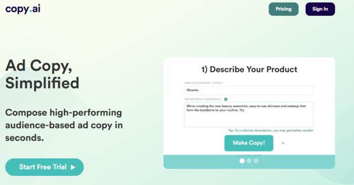 Utilice CopyAI para escribir un texto de anuncio PPC que convierta