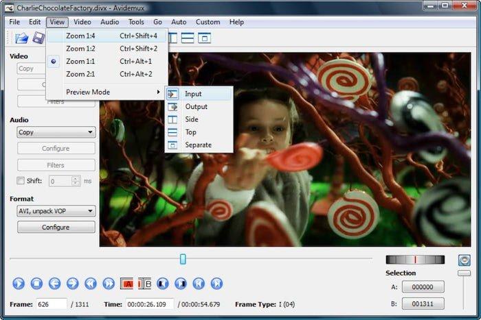 software de edición de video gratuito avidemux