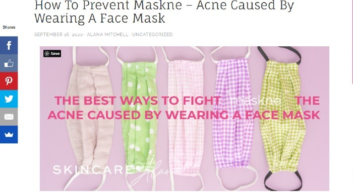 Skincare Marketing Skincare by Alana Publicación del blog sobre Maskne