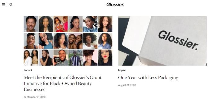 Captura de pantalla del blog Skincare Marketing Glossier