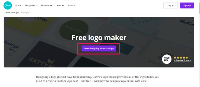 ejemplo gratuito de logotipo de marca canva