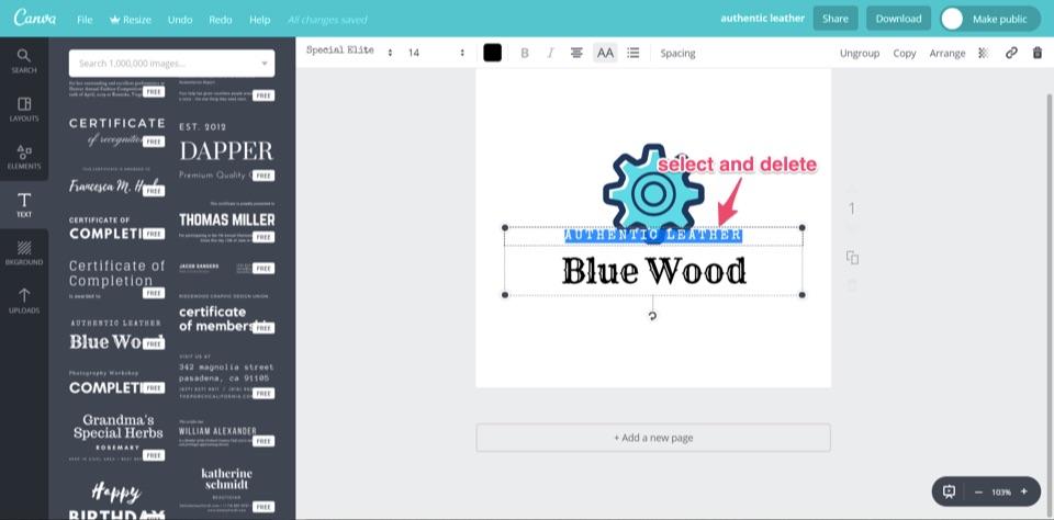 seleccionar y eliminar el logotipo de madera azul canva gratis