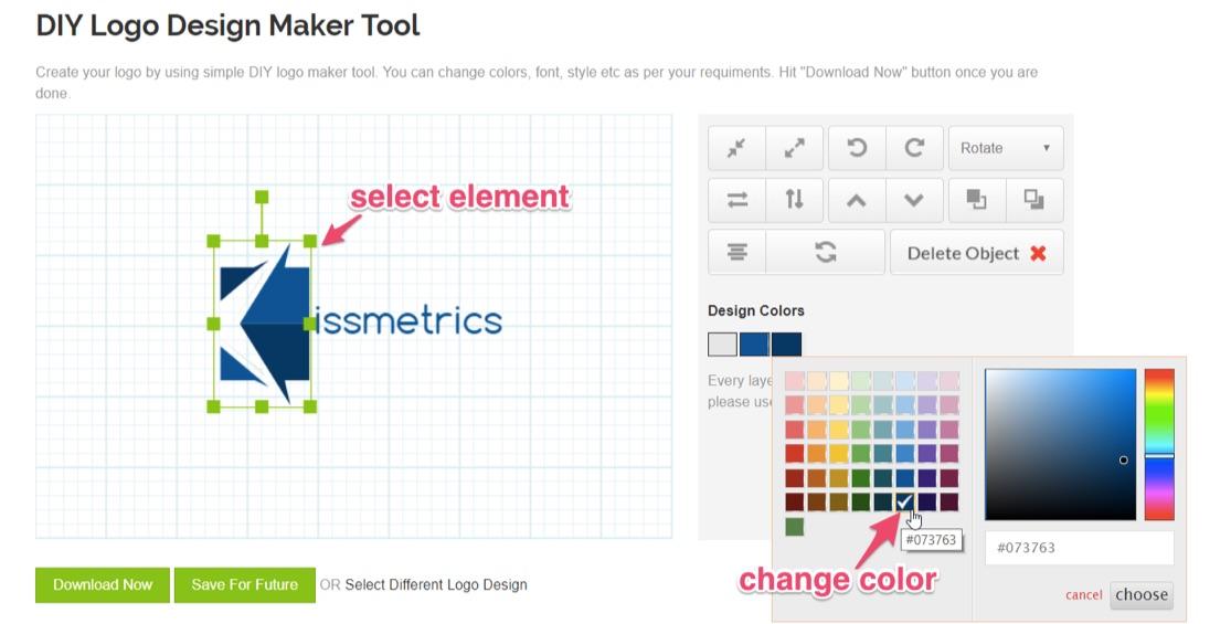 seleccione el elemento y cambie el color en el diseño del logotipo