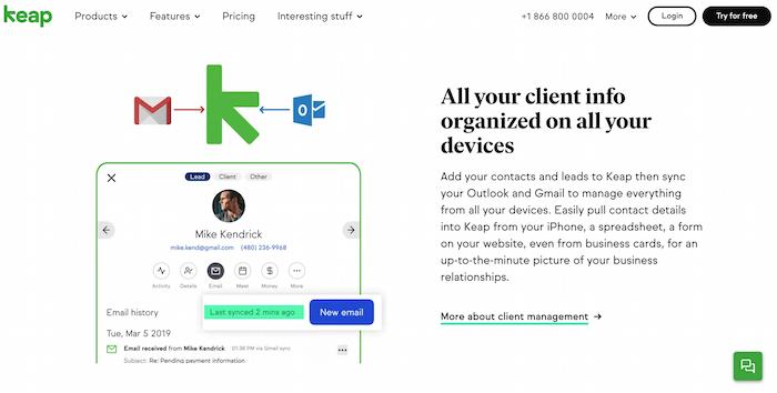 Ejemplo de automatización de comercio electrónico de gestión de la información de contacto del cliente mediante la aplicación Keaps