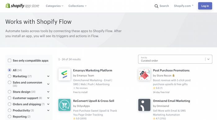 Lista de automatización de comercio electrónico de aplicaciones de la tienda de aplicaciones de Shopify que funcionan con Shopify Flow