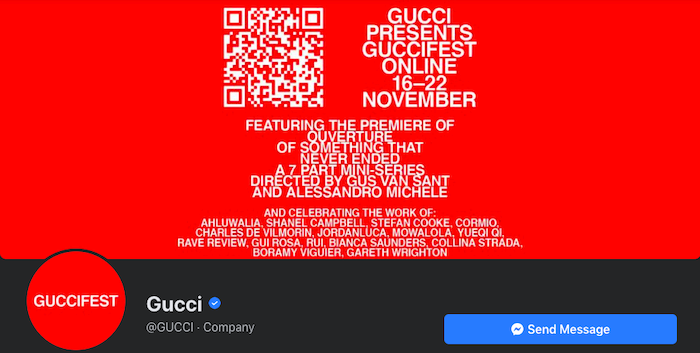 "Impresionante foto de portada de Facebook de Gucci ""class ="" wp-image-99576 ""srcset ="" https://improvvisa.es/wp-content/uploads/2020/11/1606708354_747_Como-crear-las-mejores-fotos-de-portada-de-Facebook-para.png 700w, https: //neilpatel.com/wp-content/uploads/2020/11/Gucci-awesome-Facebook-cover-photo-350x177.png 350w ""tamaños ="" (ancho máximo: 700px) 100vw, 700px"
