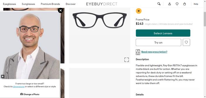 Prueba virtual de gafas en la captura de pantalla de inteligencia aumentada 1