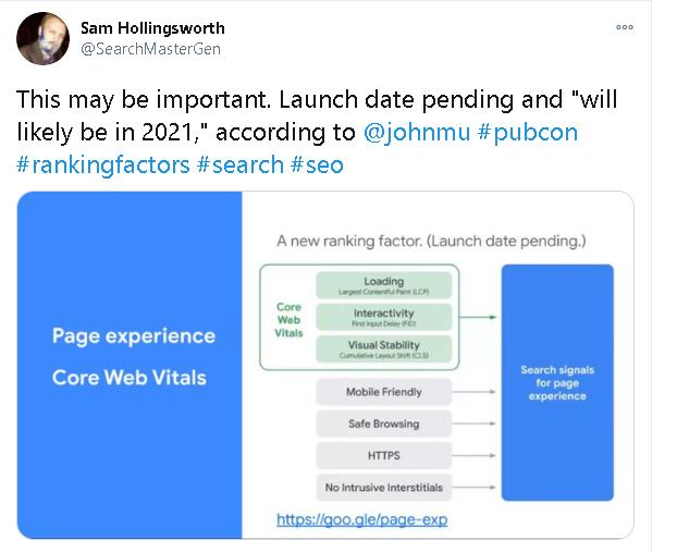 Anuncio de Twitter de las características clave de Web Vitals